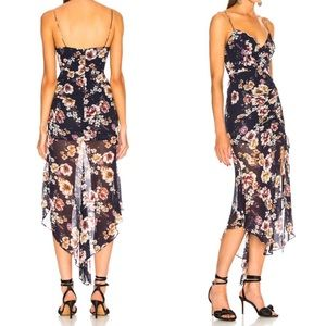 NICHOLAS Floral Garden Rose Drawstring Midi Dress